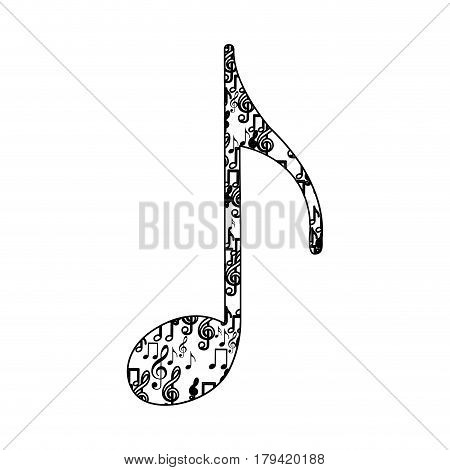 quaver note monochrome silhouette formed by musical notes vector illustration
