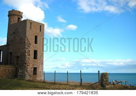 Ruined Tower at Edge of Sea, Slains Castle, Aberdeenshire