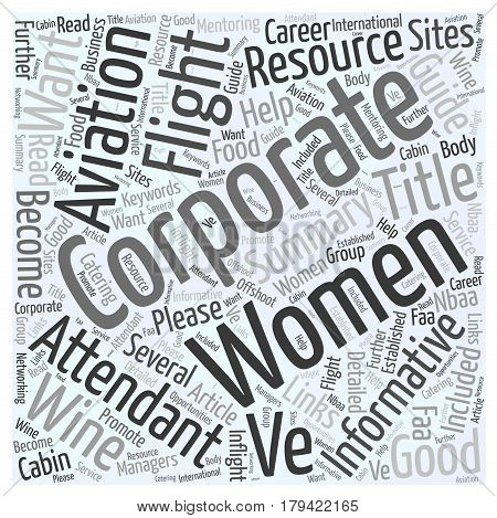 Corporate Flight Attendant Resource Guide Word Cloud Concept