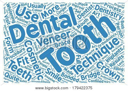 Cosmetic Dentistry Latest Techniques Explained text background wordcloud concept