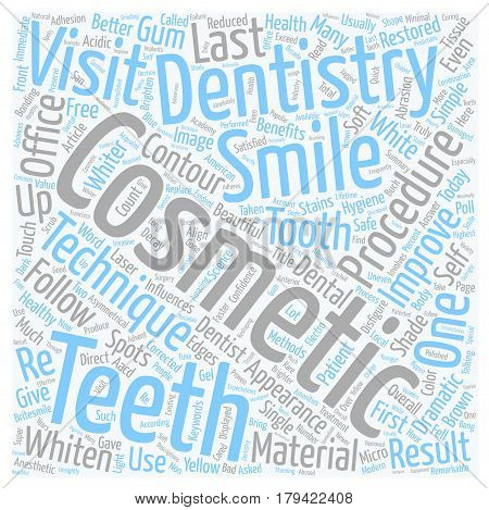 Cosmetic Dentistry Procedures text background wordcloud concept
