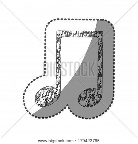 sticker musical note monochrome silhouette formed by musical notes vector illustration