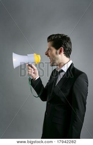 bullhorn businessman megaphone profile shouting loud
