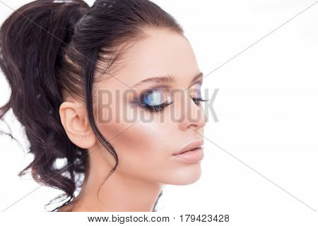 Colorful make-up woman face, beautiful brunette summer makeup, beauty fashion girl model with pink lips.