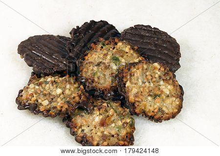 florentine biscuit sweet dessert  food  chocolate   nuts