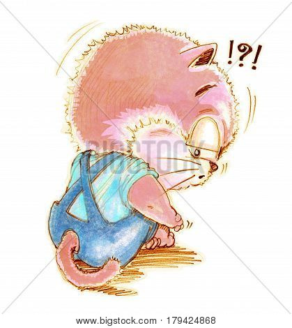Cat cute cartoon feeling lonely and depressingly Character design pencil color hand drawing.