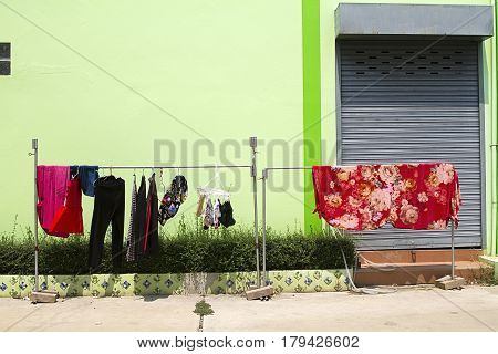 domestic street drying clothes laundry sun traditional