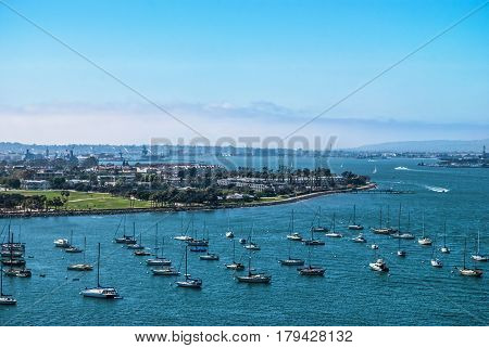 A scenic view of San Diego Bay in California.