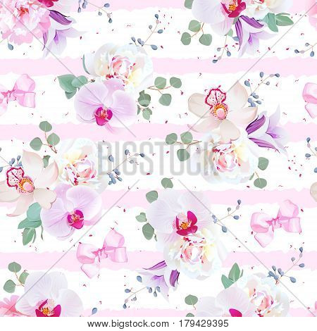 Delicate seamless vector pattern in purple, pink and white tones. Peony, violet campanula, orchid, eucalyptus. Seamless vector print with pink geometric horizontal ornament.