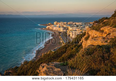 Sunset Over Rodos Town In Greece