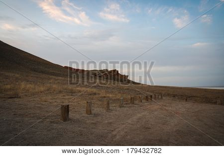 Deserted landscape of Bogdo valley near Baskunchak lake, Russia