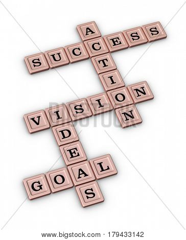 Goal, Idea, Vision, Action, Success Crossword Puzzle. Business Planning Concept. 3D illustration on white background.