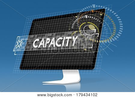 Capacity word graphic design with computer screen