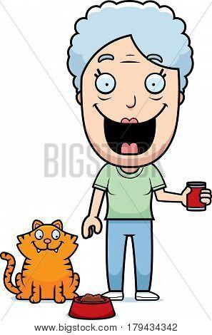 Cartoon Woman Feeding Cat