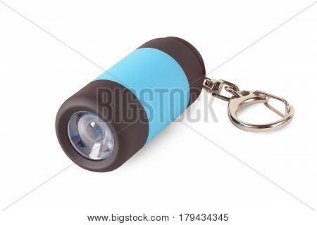 Keychain with flashlight isolated on white background