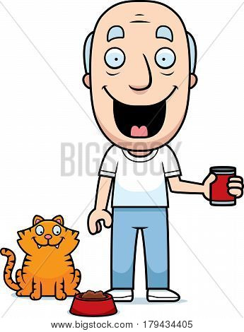 Cartoon Man Feeding Cat