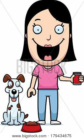 Cartoon Woman Feeding Dog