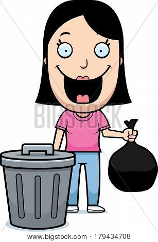 Cartoon Woman Trash