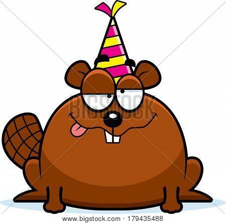 Cartoon Beaver Drunk Party