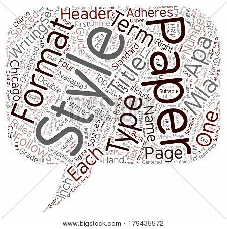 Different Formats And Types Of Term Papers text background wordcloud concept