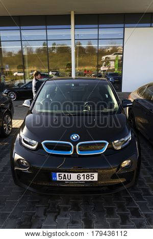 Prague, Czech Republic - March 31: Bmw I3 Car Company Logo In Front Of Dealership Building On March