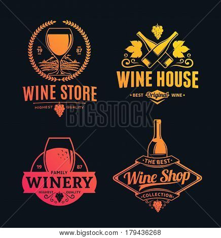Vector Wine Logo, Icons And Design Elements