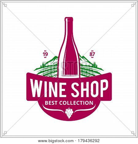 Vector Crimson And Green Vintage Wine Shop Logo