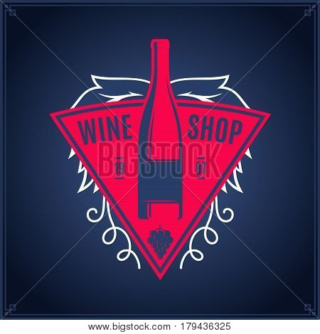 Vector Crimson And White Vintage Wine Shop Logo On Dark Blue Background