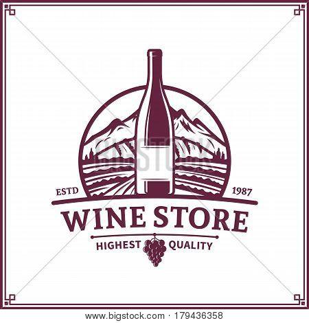 Vector Scarlet Vintage Wine Store Logo