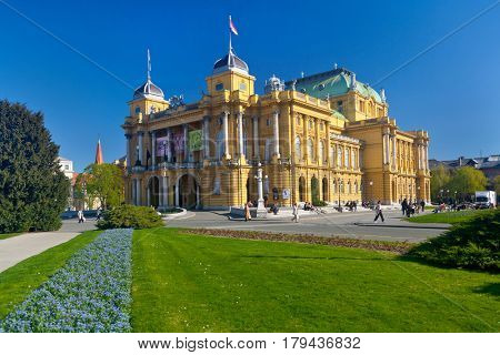 ZAGREB, CROATIA - MARCH 28, 2017: Croatian National Theater on a spring sunny day. The Croatian National Theater, commonly referred to as HNK, is a theater, opera and ballet house located in Zagreb.