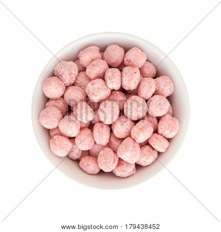 Sweet Fruit Pink Corn Balls Snack In Round Bowl Top View