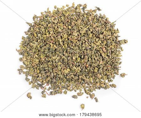 Natural Oolong Green Tea Leaves on White Background. Dry brown-green herbal texture