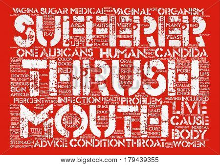 Thrush Cause And Cure Word Cloud Concept Text Background