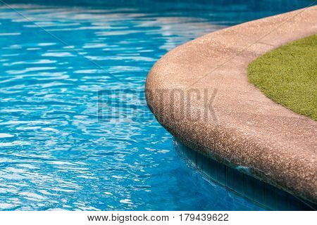 Swimming Pool With Sandstone And Grass Floor