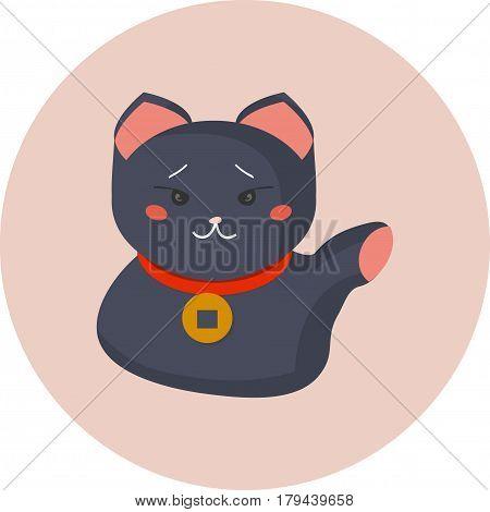 Maneki-neko or welcoming cat or lucky cat with a coin collar on its neck. Beckoning cat made in a flat cartoon style. Maneki Neko as a Japanese symbol of luck.