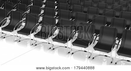 Conference Chairs On White Background. 3D Illustration