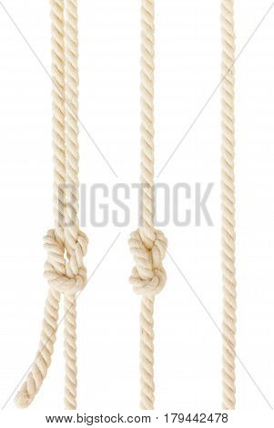 ship ropes with knot isolated on white