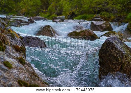 The rapid flow of the river Katun