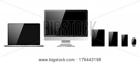 Set Of Modern Electronic Devices Isolated On White Background - Laptop, Computer Monitor, Smart Watc