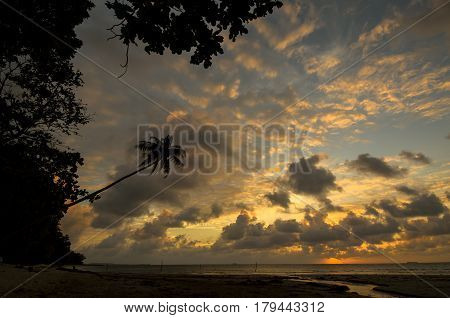 Vibrance sunset at Sungai Lada Beach located at Federal Territory of Labuan