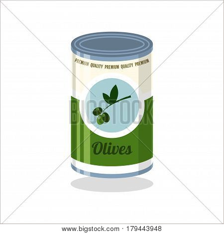 Tin Vector illustration Retro tin can with olives on white background
