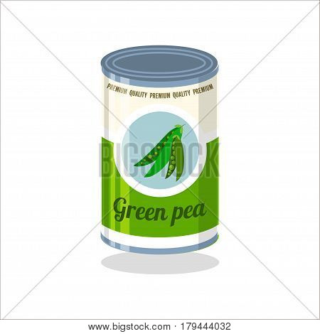 Tin Vector illustration Retro tin can with green pea on white background