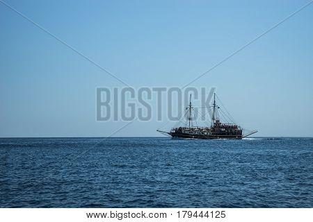 Seascape with a sail-ship near Zakinthos island, Greece