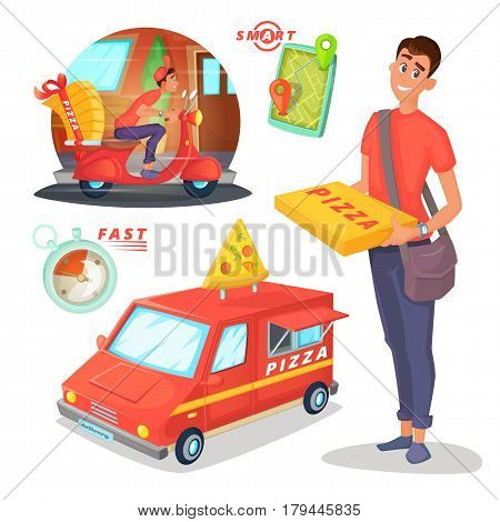 Pizza delivery cartoon illustration with van, scooter, courier character design and transportation and navigation elements.