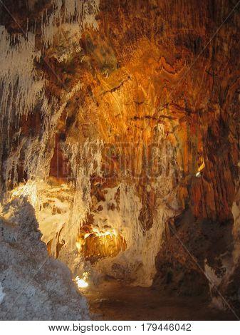 Natural crystals of salt in salt caves Salt mountain Cardona Catalonia Spain