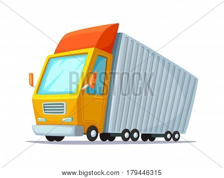 Cartoon vector illustration. Concept design of delivery truck. Lorry for transportation of goods and containers.