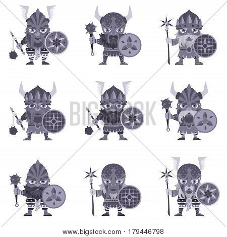 Set of Vikings. Vector illustration of warriors with spear and armor. A medieval man in a costume with weapon and shield in hand. Isolated characters on a white background in a flat style.