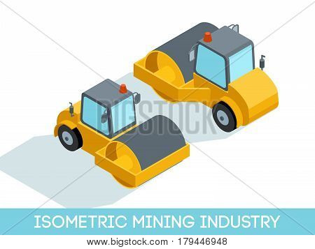 Isometric 3D mining industry icons set 5 image of mining equipment and vehicles isolated on a light background vector illustration.