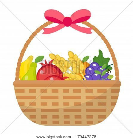 Fruit Basket icon, flat, cartoon style. Jewish holiday Shavuot, food concept. Pomegranate, grapes, wheat, olives. Isolated on white background Vector illustration clip-art