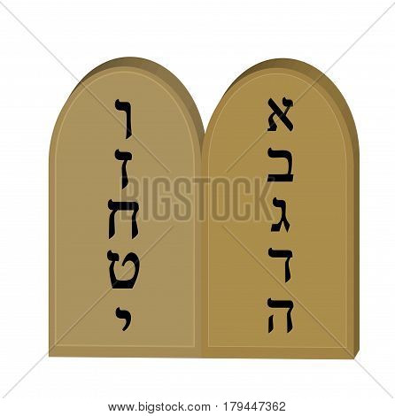 Tablets Jewish from 10 commandments icon, flat, cartoon style. Jewish religious holiday Shavuot, concept. Isolated on white background. Vector illustration, clip-art